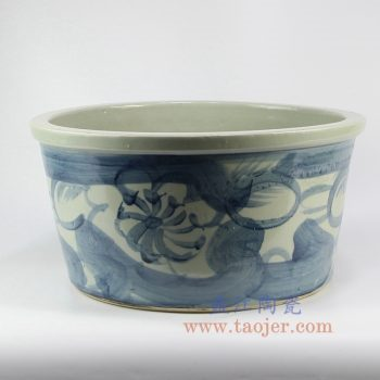 RZNA07-景德镇陶瓷 仿古 明朝写意 手绘青花 花盆 缸