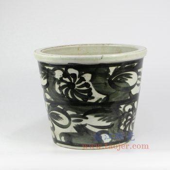 RZNA09-景德镇陶瓷 仿古 手工手绘写意 明朝黑色 墨彩 花盆 钵