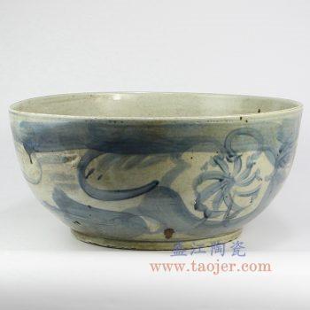 RZNA12-景德镇陶瓷 仿古 手绘 明朝 青花 花盆 大碗