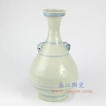 RZNA13-景德镇陶瓷 仿古 手工 明朝 写意线条青花 花插花瓶