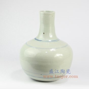 RZNA14-景德镇陶瓷 仿古 全手工 手绘 明朝 青花写意线条 花插花瓶