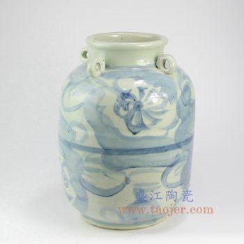 RZNA16-景德镇陶瓷 仿古全手工 手绘 明朝 青花写意线条 陶瓷罐