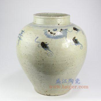 RZNA17-景德镇陶瓷 仿古全手工 手绘 明朝 青花写意鱼草  陶瓷罐