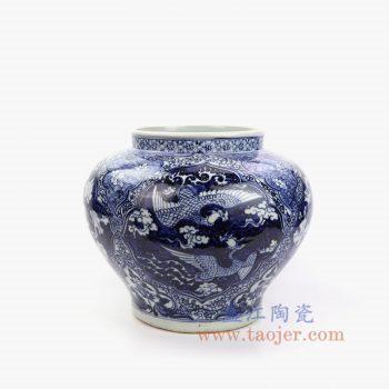 RZNI17-景德镇陶瓷 仿古元青花手绘开窗双鹤荷花陶瓷罐