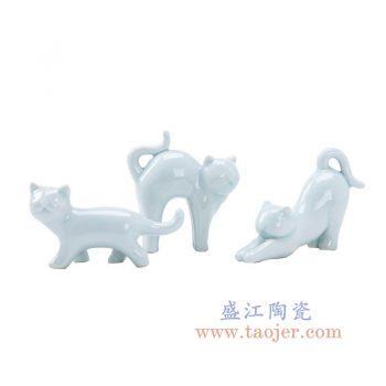 RZOM01 景德镇陶瓷 纯手工创意可爱猫咪陶瓷动物装饰小摆件