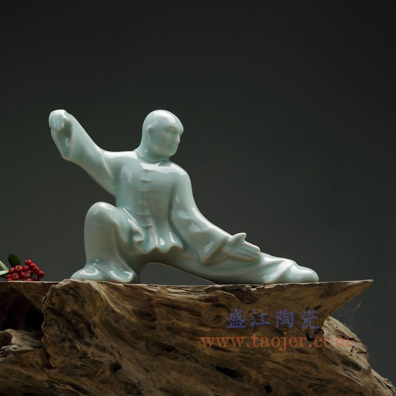 上图:RZON03-C 盛江陶瓷 纯手工雕刻太极新中式人物书房陶瓷摆件 C款
