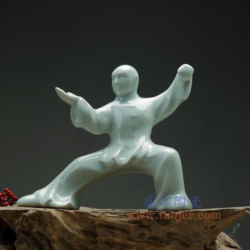 上图:RZON03-D 盛江陶瓷 纯手工雕刻太极新中式人物书房陶瓷摆件 D款