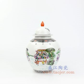 RZOR01-景德镇陶瓷 仿古 手绘粉彩 百子图 陶瓷罐 茶叶罐 储物罐