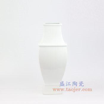 RZOS01-景德镇陶瓷 纯手工 白色四方 花插花瓶