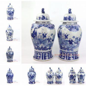 RZOT03 景德镇陶瓷 仿古 纯手工手绘 青花 狮子头将军罐 盖罐 储物罐
