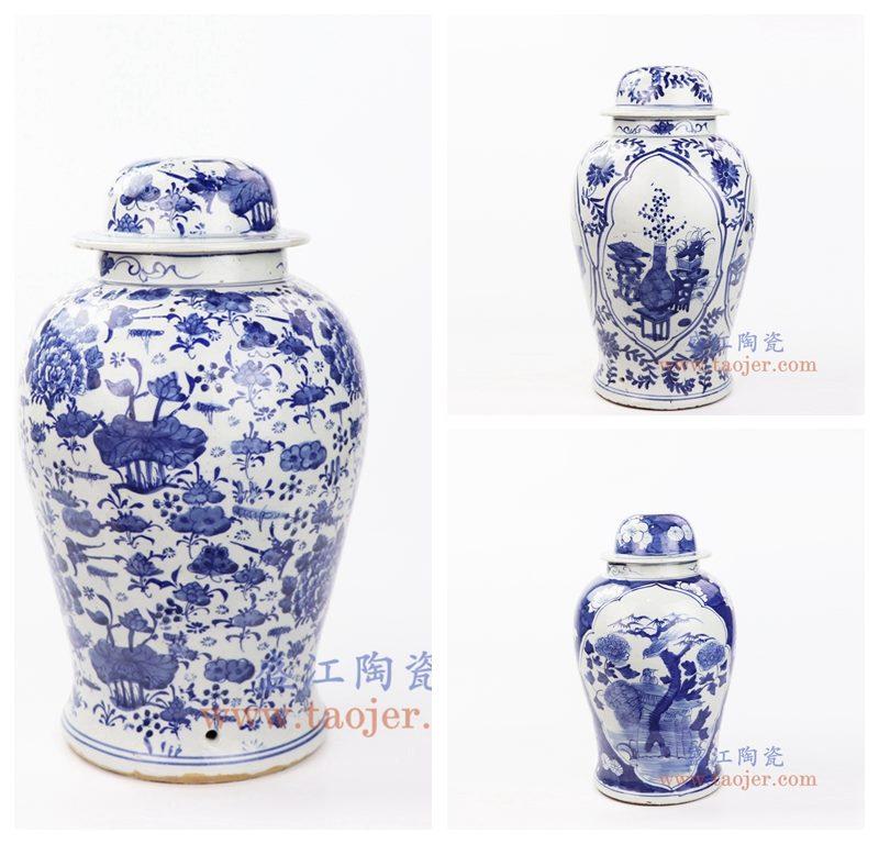 上图:DS-RZKT01 盛江陶瓷 仿古 纯手工手绘青花 陶瓷灯具 台灯 组合图