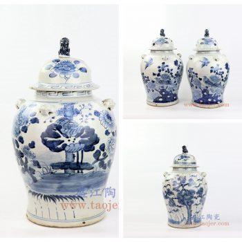 RZMV34 景德镇陶瓷 仿古 纯手工手绘 青花 狮子头将军罐 盖罐 储物罐