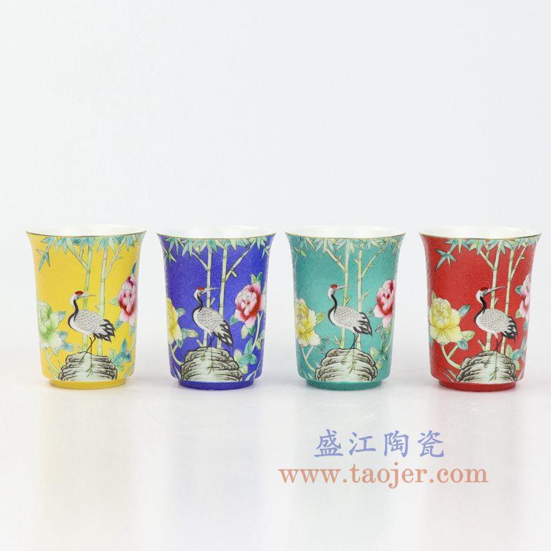 上图:RZOU01 盛江陶瓷 纯手工 粉彩描金扒花花鸟 单杯品茗杯功夫茶杯 组合