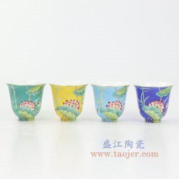 RZOU02 景德镇陶瓷 纯手工 粉彩描金扒花荷花 单杯品茗杯功夫茶杯