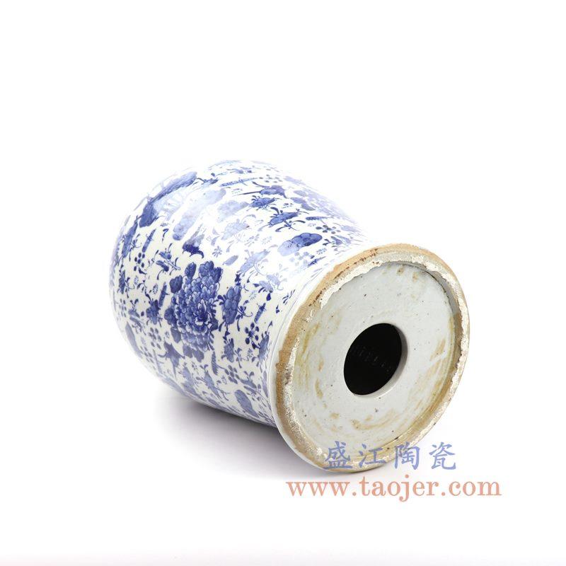 上图:DS-RZKT01-A 盛江陶瓷 仿古 纯手工手绘青花  荷花池塘 将军罐 盖罐 储物罐