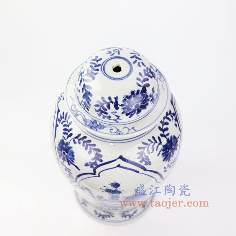 上图:DS-RZKT01-B 盛江陶瓷 仿古 纯手工手绘 青花 开窗花草 陶瓷灯具 台灯