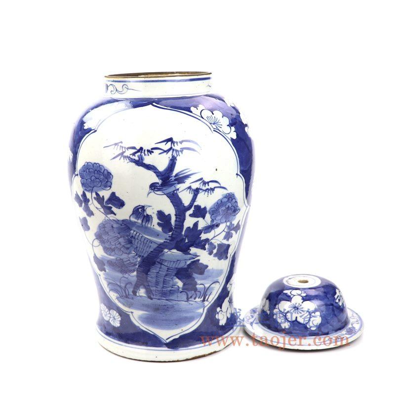 上图:DS-RZKT07 盛江陶瓷 仿古 纯手工手绘 青花蓝底冰梅开窗花鸟陶瓷灯具 台灯