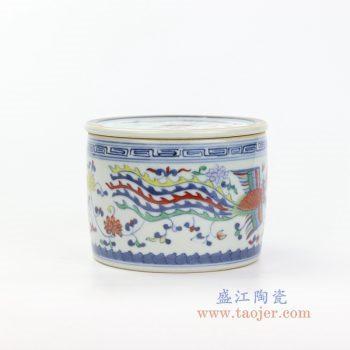 RYAS149 景德镇陶瓷 青花斗彩凤凰带盖圆储物罐茶叶罐