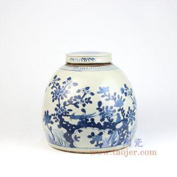RZEY03-C 景德镇陶瓷 仿古 纯手工手绘 青花 花鸟盖罐 储物罐