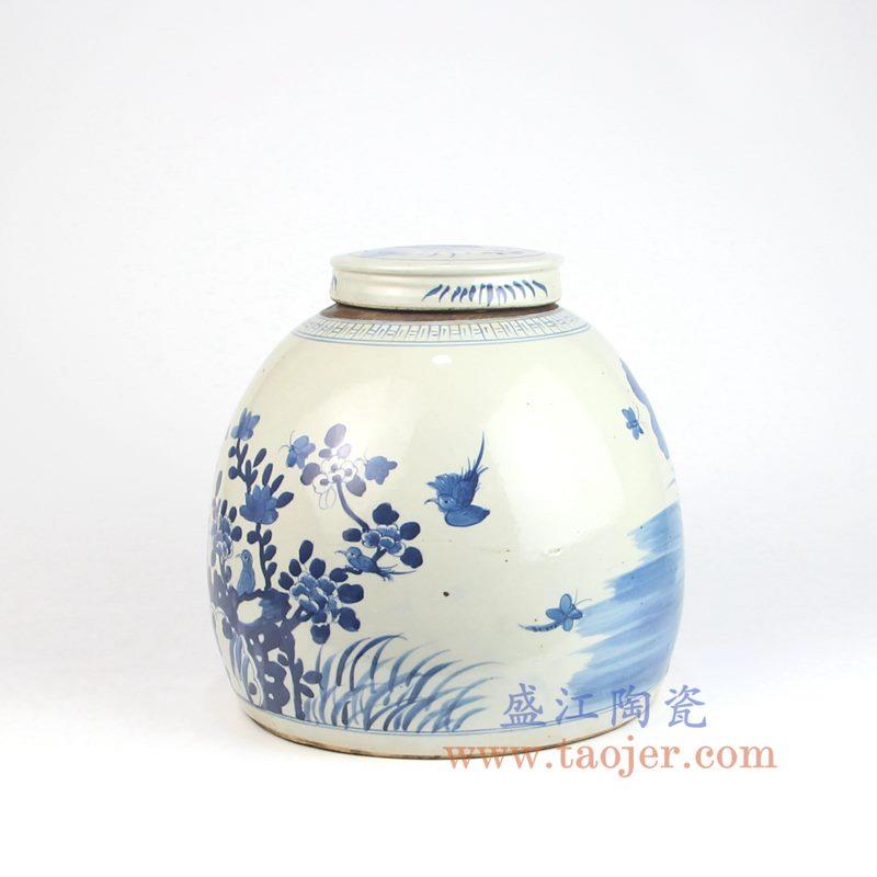 上图:RZEY03-C 盛江陶瓷 仿古 纯手工手绘 青花 花鸟盖罐 储物罐
