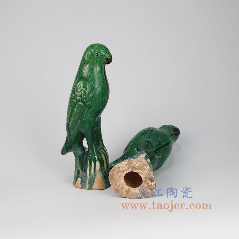 上图:RZLN01 盛江陶瓷 老陶器古董古玩绿釉鹦鹉
