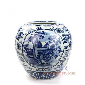 RZOT01 景德镇陶瓷 仿古 纯手工手绘 青花龙纹 开窗花鸟陶瓷罐