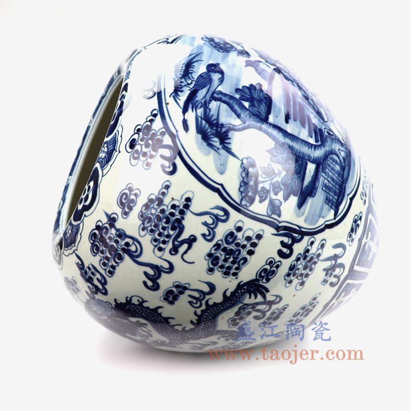 上图:RZOT01 盛江陶瓷 仿古 纯手工手绘 青花龙纹 开窗花鸟陶瓷罐