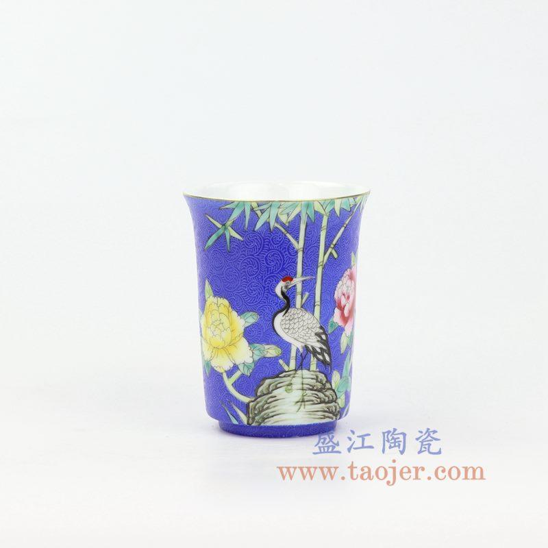 上图:RZOU01-A 盛江陶瓷 纯手工 粉彩描金扒花花鸟 单杯品茗杯功夫茶杯 蓝色