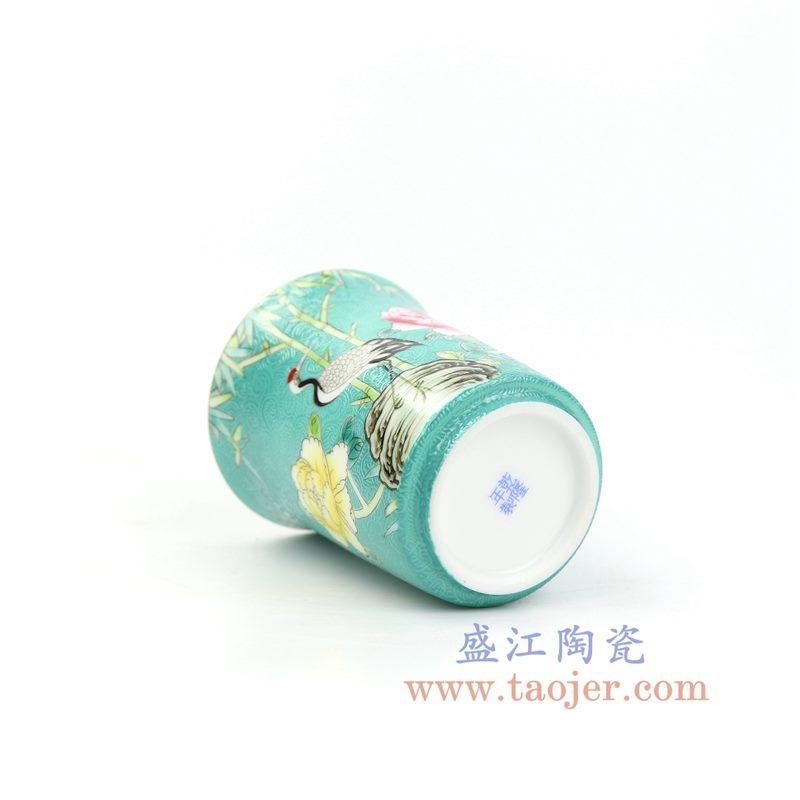 上图:RZOU01-B 盛江陶瓷 纯手工 粉彩描金扒花花鸟 单杯品茗杯功夫茶杯 绿色