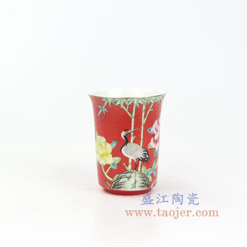 上图:RZOU01-C 盛江陶瓷 纯手工 粉彩描金扒花花鸟 单杯品茗杯功夫茶杯 红色
