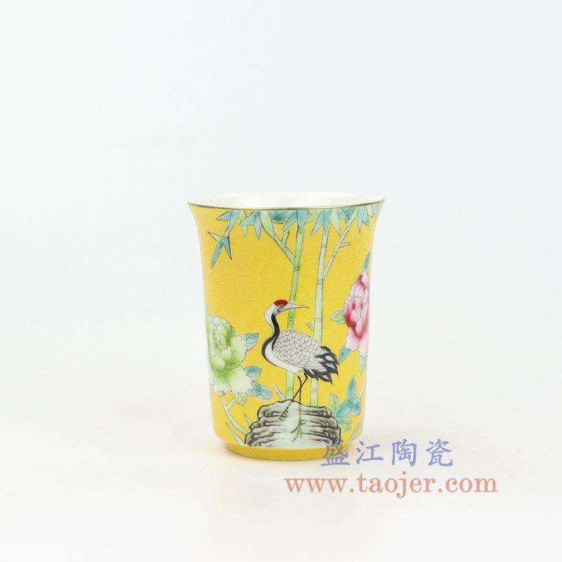 上图:RZOU01-D 盛江陶瓷 纯手工 粉彩描金扒花花鸟 单杯品茗杯功夫茶杯 黄色