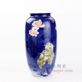 RZOV01 景德镇陶瓷 手绘蓝底粉彩花鸟花插花瓶