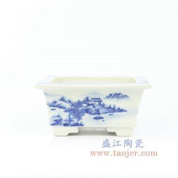 RZOW01 景德镇陶瓷 手绘 青花山里人家四方花盆