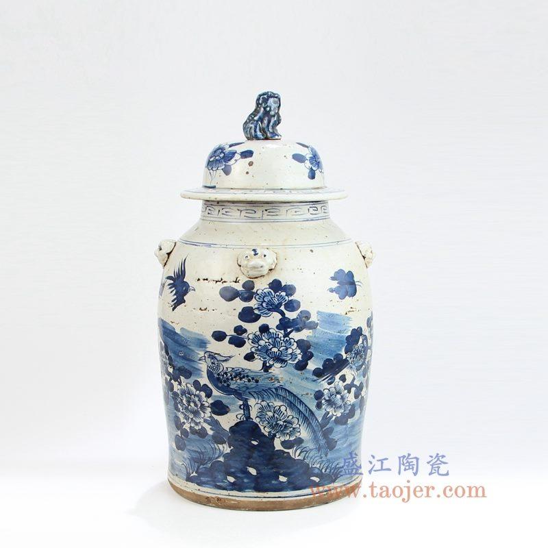 RYKB156 盛江陶瓷 青花仿古做旧狮子头盖子花鸟将军罐