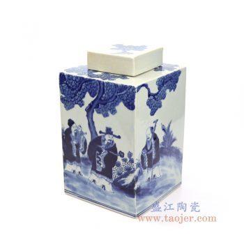 RYUK33 景德镇陶瓷 青花手绘人物四方茶叶罐