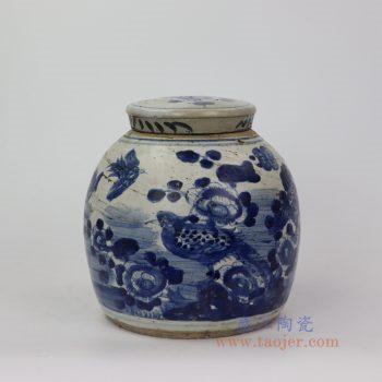 RZEY16-A 小 景德镇陶瓷 青花山水花鸟带盖坛罐子
