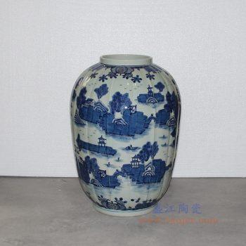 RZOY03 景德镇陶瓷 青花园林山水风景冬瓜罐