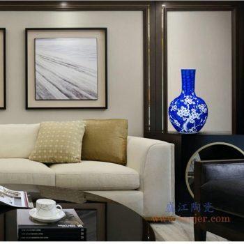 RYUG02-D 景德镇陶瓷 青花瓷手绘天球瓶