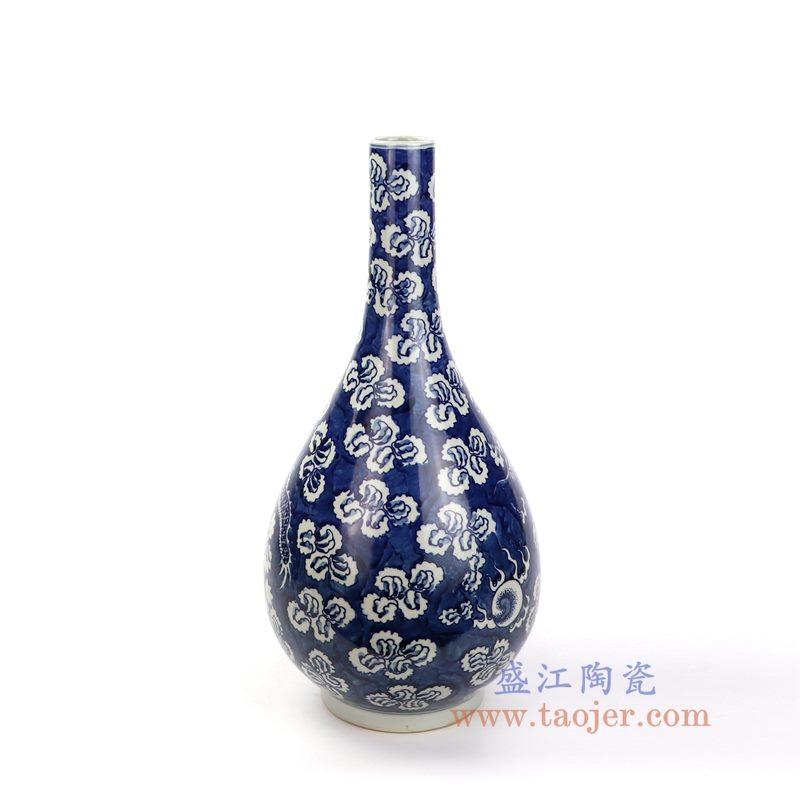 RYWD24 盛江陶瓷 青花冰梅云龙开光花瓶
