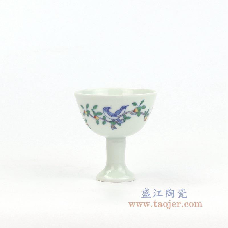 RYYM08-A 盛江陶瓷 单个粉彩斗彩花鸟高脚鸡缸杯子