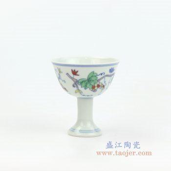 RYYM08-B 景德镇陶瓷 单个粉彩斗彩花藤高脚鸡缸杯子