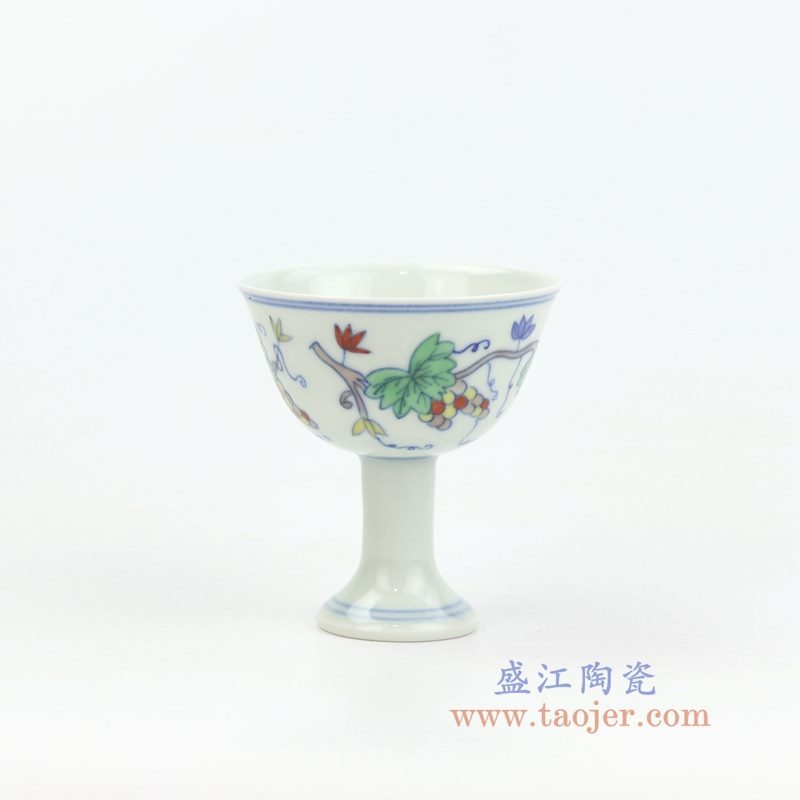 RYYM08-B盛江陶瓷 单个粉彩斗彩花藤高脚鸡缸杯子