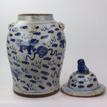 RZEY13-A 大 景德镇陶瓷 仿古做旧青花狮子纹将军罐