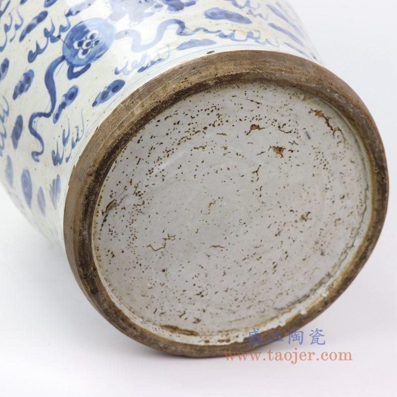 RZEY13-A 大 盛江陶瓷 仿古做旧青花狮子纹将军罐