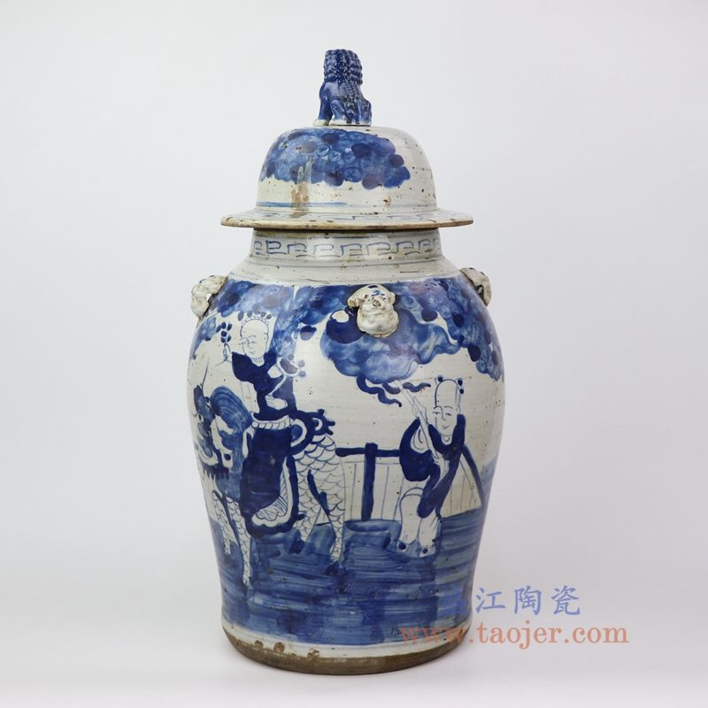 RZEY13-B 盛江陶瓷 青花狮子头童子人物将军罐