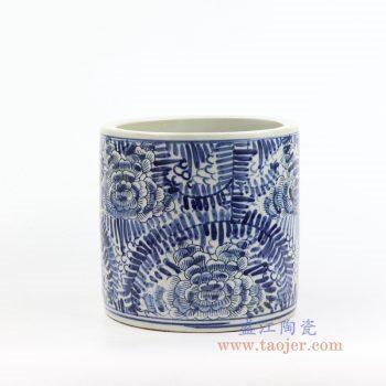 RZKT03-E 景德镇陶瓷 青花缠枝茶叶罐