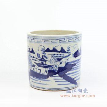 RZKT03-F 景德镇陶瓷  大明青花山水纹笔筒
