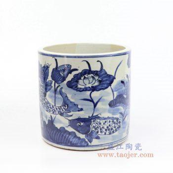 RZKT03-G 景德镇陶瓷 青花荷花手绘圆形笔筒