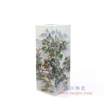 RZNW33 景德镇陶瓷 陶瓷粉彩青山红树四方山水笔筒大号