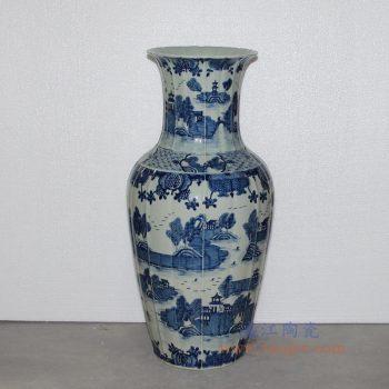 RZOY02 景德镇陶瓷 陶瓷青花山水赏瓶